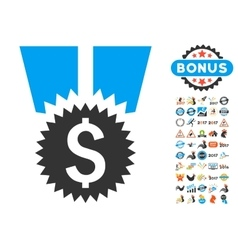 Financial medal icon with 2017 year bonus symbols vector