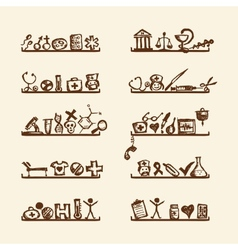 Shelves with medical icons for your design vector image vector image