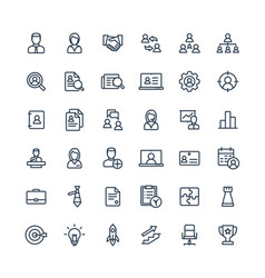 Thin line icons set business and management vector