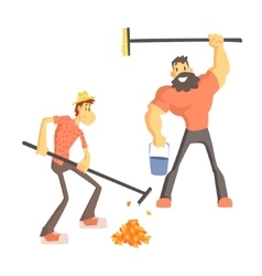 Two Man Picking Up Leaves vector image vector image