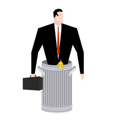 businessman in trash can business of garbage tie vector image