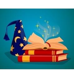 Cap wizard and book of magic spells vector
