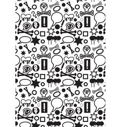 Seamless icons pattern BW vector image vector image