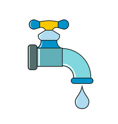 water tap with drop on white background vector image