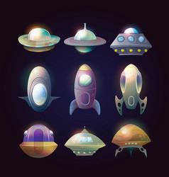 alien spaceship disk or astronaut rocket vector image