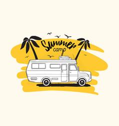camper trailer or campervan driving against exotic vector image