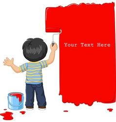 Cute little boy painting the wall with red color vector image vector image
