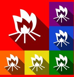 fire sign set of icons with flat shadows vector image