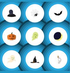 Flat icon halloween set of gourd cranium witch vector