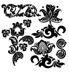 floral ornament set vector image