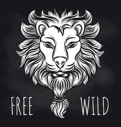 hipster lion on blackboard background vector image vector image