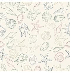 Sea shell seamless pattern vector image vector image