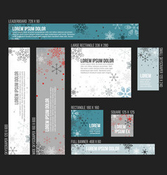 8 standard size winter christmas banner templates vector image