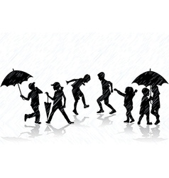 Children enjoy the rain vector image vector image