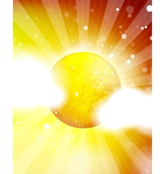 orange shiny sun background vector image vector image