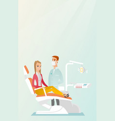 Patient and doctor in the dentist office vector