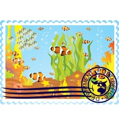 Postage stamp with the underwater world vector image vector image
