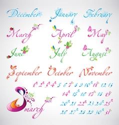 Set of seasons months calligraphic design elements vector image
