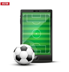 Smartphone with football ball and field on the vector image vector image