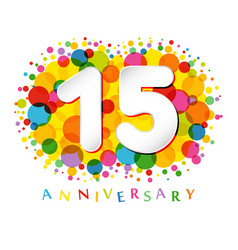 15 years anniversary paper colorful logo vector