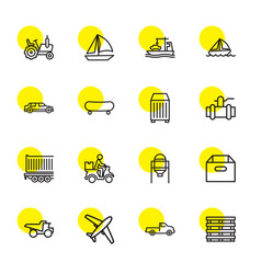 16 transportation icons vector image