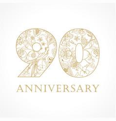 90 anniversary vintage logo vector