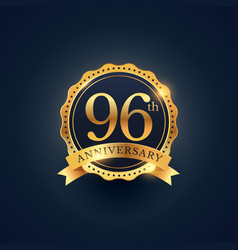 96th anniversary celebration badge label in vector image
