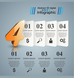 abstract four 3d digital infographic vector image