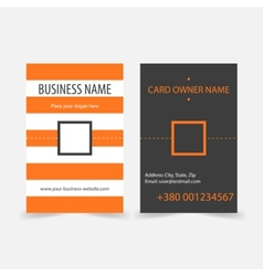 Abstract orange stripes vertical business cards vector image