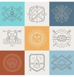 Adventures nautical and travel emblems and signs vector image