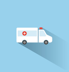 Ambulance color icon with shadow on a blue vector