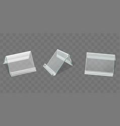 angled plastic table display realistic set vector image