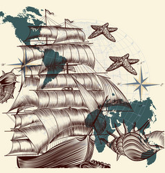 Antique ship shells and map tripping theme vector