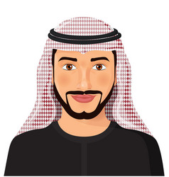 Arab man avatar face in traditional muslim vector