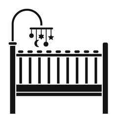 baby bed icon simple style vector image
