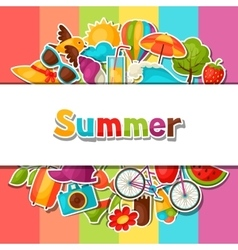 Background with summer stickers design for cards vector