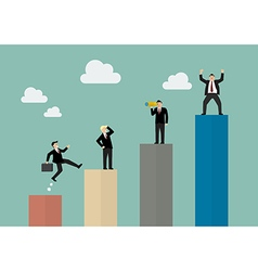 bar graph with businessmen in various activity vector image