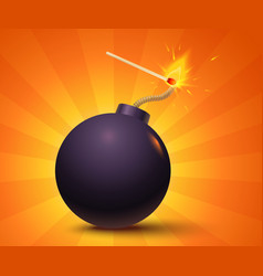 Black bomb on orange background vector