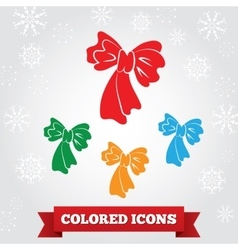 Bow icon Holiday birthday symbol Red green vector