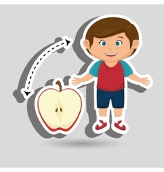 Boy cartoon fruit sliced apple vector