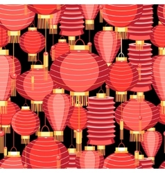 Bright pattern with red lanterns vector