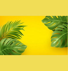 bright yellow summer background with tropical vector image
