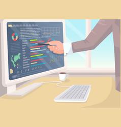 Businessman analyzing business data banner vector