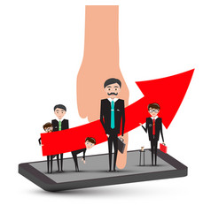 businessmen on mobile phone with hand and big up vector image