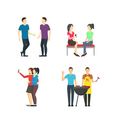 cartoon friends social characters icon set vector image