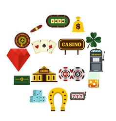 casino set flat icons vector image