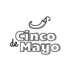 cinco de mayo logo hand drawn lettering and chili vector image