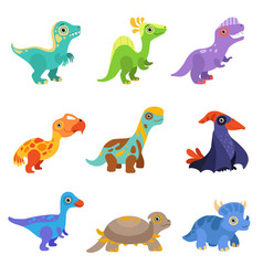 Collection of cute dinosaurs colorful baby dino vector