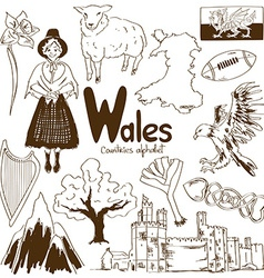 Collection of Wales icons vector image