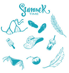collection summer tropical line art objects vector image